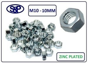 M10-10MM-STEEL-HEX-NUTS-ZINC-PLATED-M10-10mm-THREAD-VARIOUS-QTY-039-S-AVAILABLE