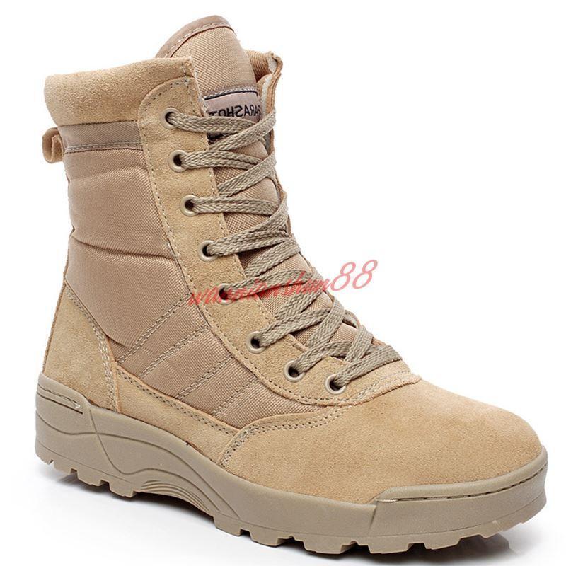 Mens Military Tactical Boots Lace Up Zip Desert Combat Outdoor Work shoes SZ