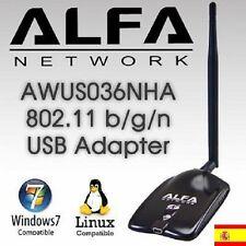 AWUS036NHA,ANTENA WIFI, ALFA B/G/N, 2w,V5,2000MW,ENVIO DESDE ESPAÑA URGENTE.24Hs