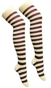 Over The Knee Grey And Black Stripy Stripey Socks Sox Striped Thigh High Fancy