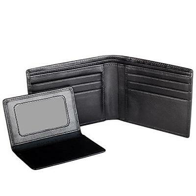 Black Cross Mens Leather Bifold Wallet with Removable Credit Card Case