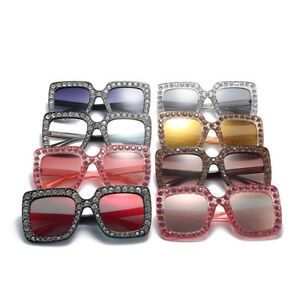 7d7b59264dfe Image is loading NEW-Oversized-Square-Frame-Bling-Rhinestone-Sunglasses- Women-