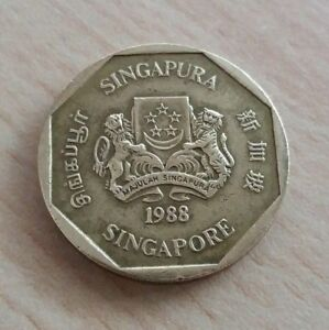 Singapore-2nd-Series-1-Dollar-Orchid-Coin-of-Year-1988-A-FINE-amp-NICE-Coin