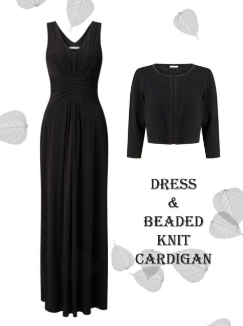 BNWT's 18 Jacques Vert Kate Maxi Dress & Beaded Collar Knit Bolero Black £198