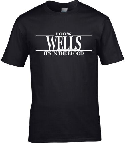 100/% Wells nom cadeau famille Wells Nom T-shirt homme