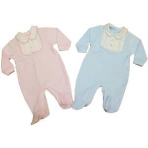 Baby Velour Snowsuit Sleepy Bear White /& Pink or White /& Blue Newborn 0-3 3-6mth