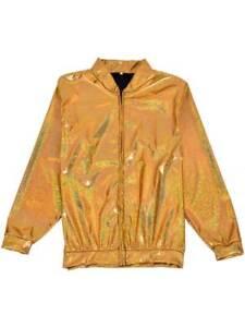 e9e813504 Details about Womens Mens Holographic Gold Metallic Bomber Jacket Fancy  Dress Festivals