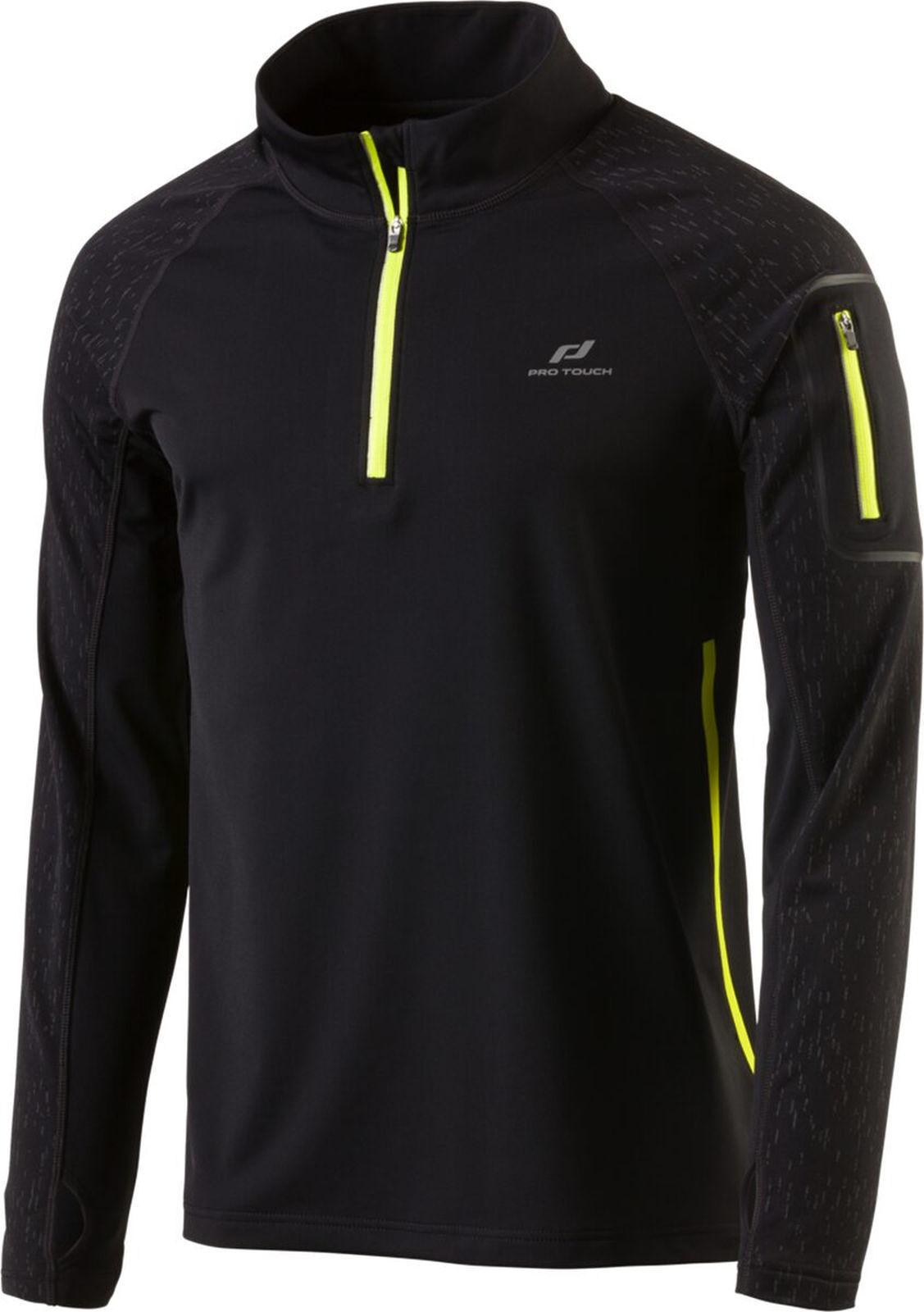 Pro TOUCH Correre Uomo Jogging Manica Lunga In Pile Shirt Renzo V NERO GIALLO