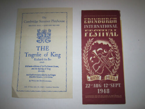10 1948 EDINBURGH & OTHER FESTIVALS MUSIC & DRAMA PROGRAMS NICE TUB B