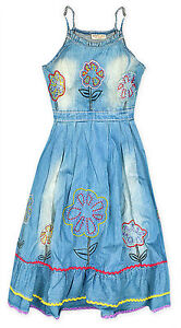 Chicas-Floral-Azul-Denim-Sin-Mangas-Verano-Vestido-Nuevo-ninos-vestidos-2-3-4-anos-de-edad