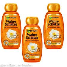 (18,07€/L) 3x 250ml Garnier Wahre Schätze Shampoo Argan & Camelia Öl wunderbare