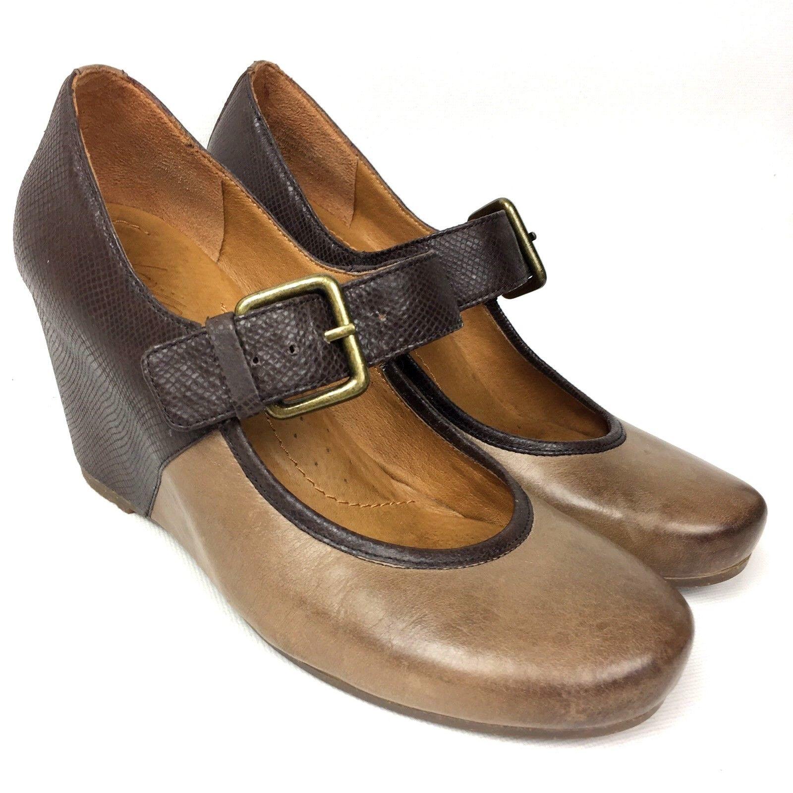 NAYA  Jacinta Anthropology  Leather Mary Jane Wedge Women's shoes Sz 7M