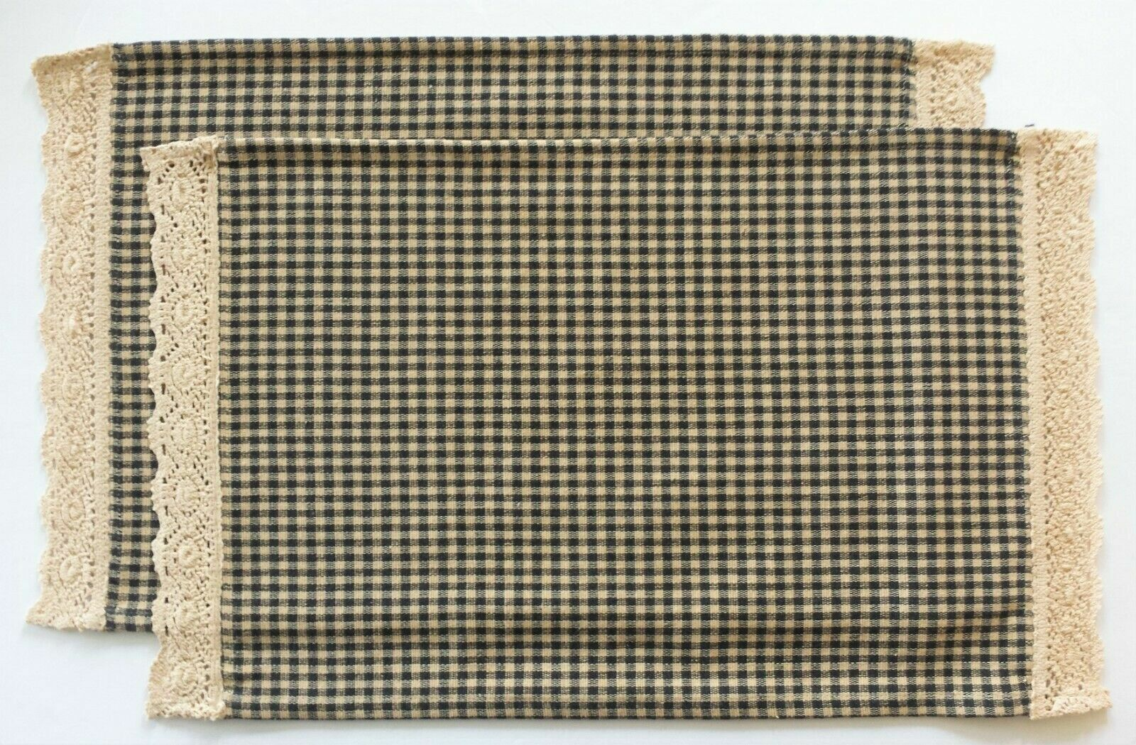 New Country Primitive BLACK /& TAN GINGHAM PLACE MAT Check Crocheted Lace Trim