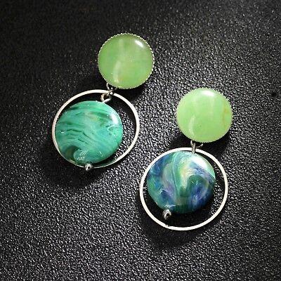 Boucles d/'oreilles CLIP ON Court Doré Cercle Resine Motif Jade Vert Bleu J14