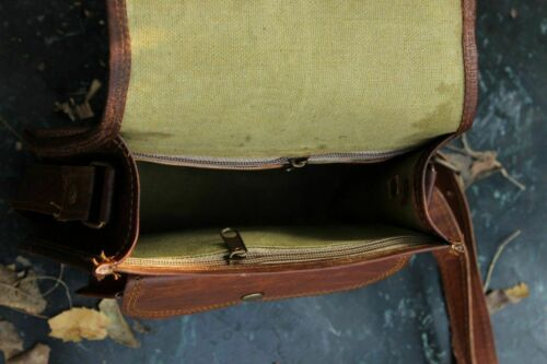 Vintage Style Women Genuine Brown Leather Cross Body Shoulder Bag Handmade Purse