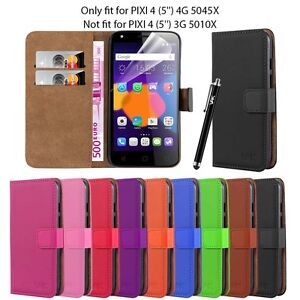 on sale 6ebc3 d925e Details about Wallet Flip Book Leather Card Case Cover For Alcatel Pixi 4  (5.0Inch) (4G)