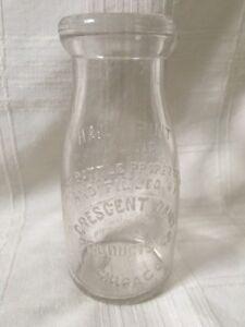 Vintage Half Pint Milk Bottle Crescent Dairy Products Chicago Illinois