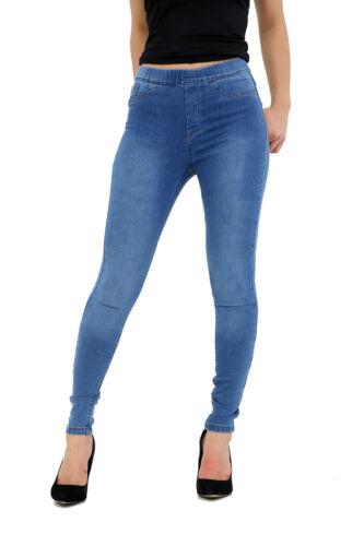 Women/'s Donna in Denim Elasticizzato Jeans Skinny Jeggings Con Tasche Taglie Forti 8-28