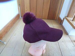 Peaked Wine New Unbranded Hat Wool Pom Blend Fur Unworn Red pExqqwPn4f