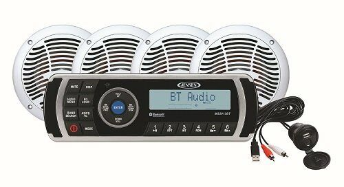 Jensen MS2013BT AM//FM//USB Bluetooth Stereo Aux 4 Speakers AMS602W Package CPM200