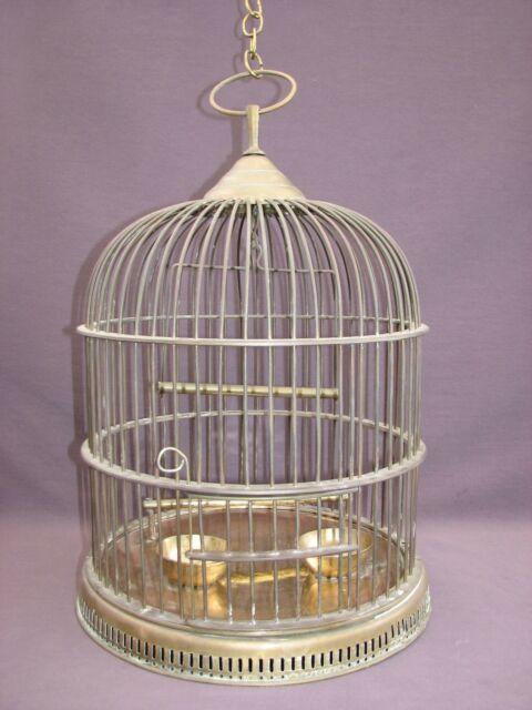 """Vintage Gatco 16"""" Solid Brass Dome Hanging Bird Cage Swing Bowls Perch 3' Chain"""