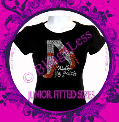 Legs Rhinestone Iron on T-Shirt Walk By Faith Bling Top RED High Heel Shoe