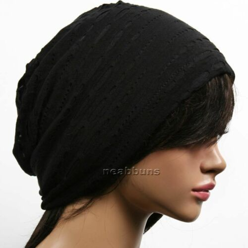 Unisex chic Summer BEANIE men women slouchy top Hats skull Cap New gm2 black