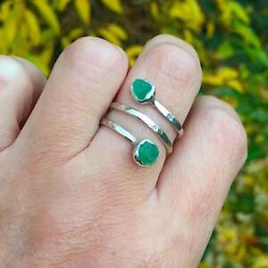 woman rings Handmade Womens Silver Raw Chrysoprase Ring Gift for her Chrysoprase Ring Silver Handmade Ring Woman 925 Chrysoprase Ring