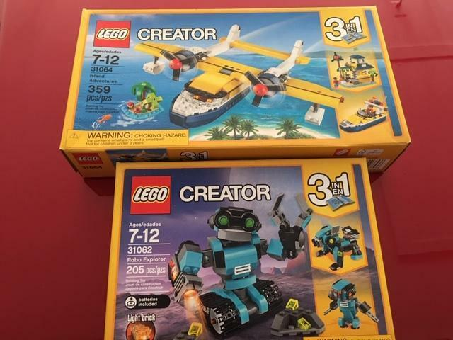 Lego Creator X2 31062 Robo Explorer 31064 Island Adventures New Sealed