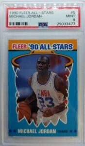 Rare-1990-91-Fleer-90-All-Stars-Sticker-Michael-Jordan-5-PSA-9-Centered