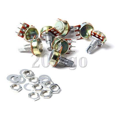 10Pcs B10K 3-pin Liner Taper Rotary Potentiometer Pots Shaft 10K ohm 16mm New CG
