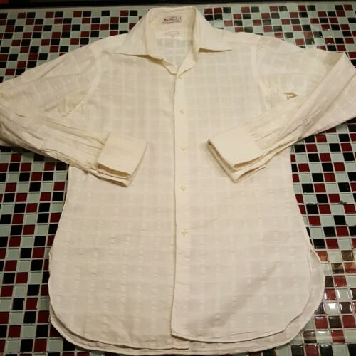 VTG 15x34 Cuzzens FRENCH CUFF Shirt Disco Rockabil