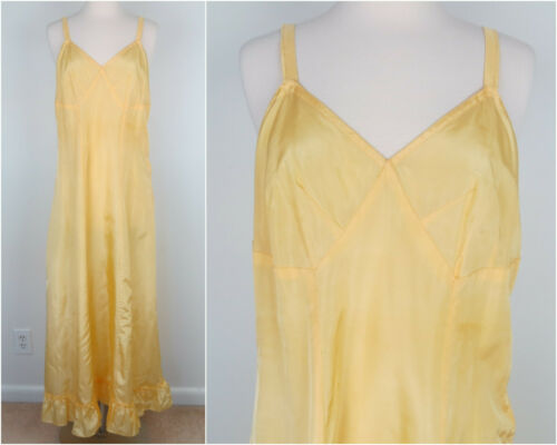 Vintage 30s/40s Yellow Full Slip with Ruffle Hem W
