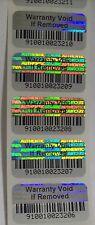 1000 Warranty Void BARCODE Security Hologram Tamper Evident Label Stickers Seals