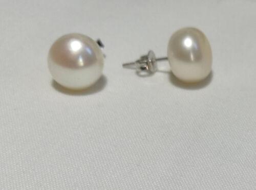 white Genuine 925 silver Genuine AAAA 11-12mm freshwater pearl stud earrings