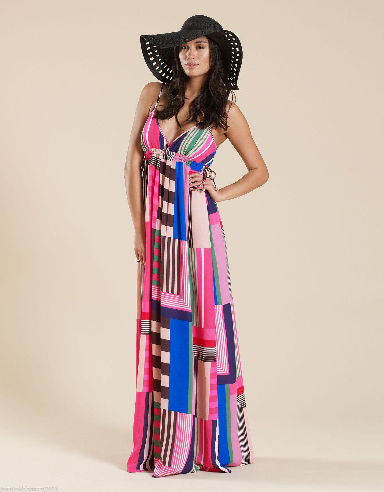 Accessorize Monsoon Stripe Retro Print Evening Occasion Summer Maxi Dress Small