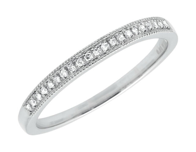 14k White Gold Milgrain One Row Pave Diamond Engagement Wedding Ring Band 0.10ct