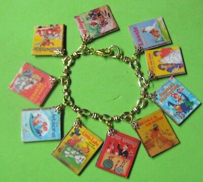 LITTLE GOLDEN BOOKS- 60's TV CLASSICS-ALTERED ART CHARM BRACELET