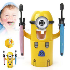 Kids Toothpaste Dispenser Squeezer Despicable Me Child Minions Toothbrush Holder