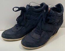 ASH Blue Suede Hidden Wedge Lace & Velcro Fastened Hi-Top Sneakers Trainers EU39