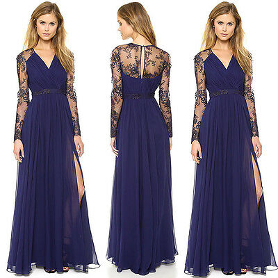 Women Chiffon Lace Evening Formal Party Cocktail Ball Prom Gown Long Maxi Dress
