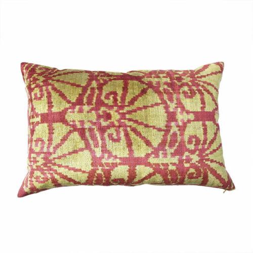 """Hand-Woven Uzbek IKat Pillow Made in Turkey; New 80-20 Silk-Cotton /""""GoldWeave/"""""""