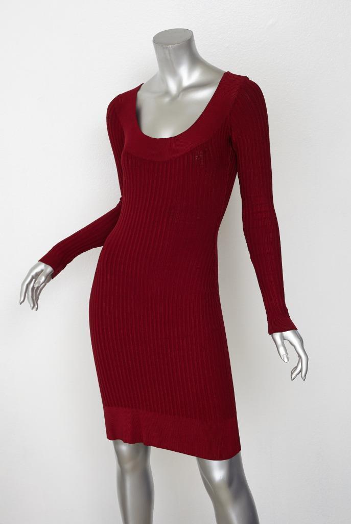 Alaia Damen Klassisch Rot Rippenstrick Langarm U-Ausschnitt Bodycon Kleid M