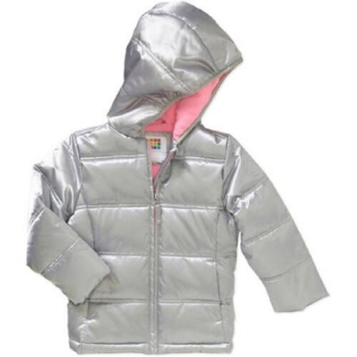New Girls Toddler Healthtex Bubble Jacket padded Sliver Purple Pink 12 Mon 3T