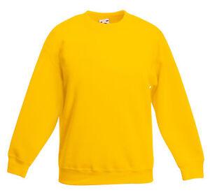 Fruit-of-The-Loom-YELLOW-Boys-Girls-Kids-School-Sweatshirt-Jumper