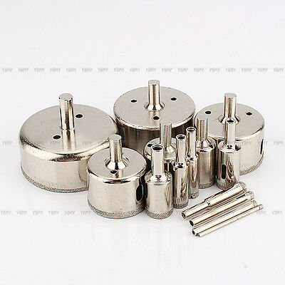 14Pcs Diamond Coated Core Hole Saw Bit Drill Set For Tiles Marble Glass 3-70mm
