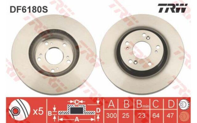 1x TRW Disco de freno delantero Ventilado 300mm Para HONDA CR-V DF6180S