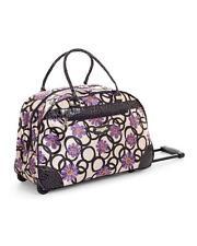 NWT KATHY VAN ZEELAND Purple Daisy Wheeled Duffel Travel Bag $120