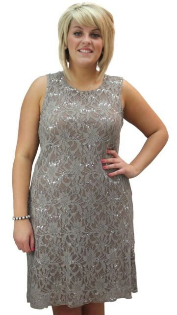 New Womens Ladies Plus Size Flapper Style Sequin Lace Lined Evening Party Dress