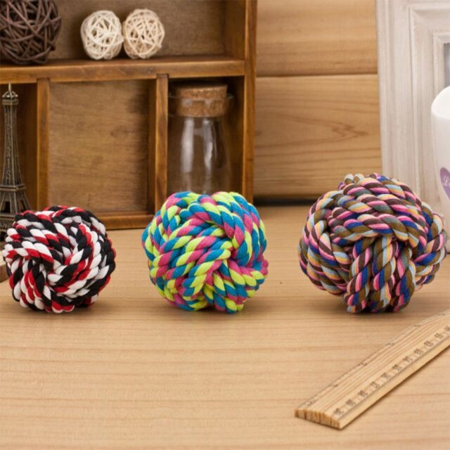 Cottons Puppy Rope Pet Ball Braided Bone Knot Dogs Cats Play Toy